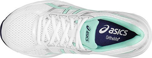 ASICS Womens GEL-Contend 4 Running Shoe,White/Bay/Silver,US 8 D