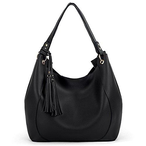 UTO Women Hobo Bag 2 Piezas Borlas Hombro Bolso Suave Cuero PU Bolsos de Gran Capacidad Negro Negro