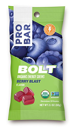 PROBAR - Bolt Organic Energy Chews, Berry Blast, 12 Count - USDA Organic, Gluten-Free, Fast Fuel Gummies