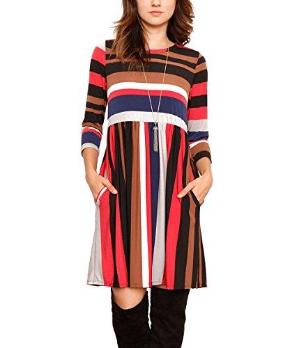 high neck stripe dress - 7