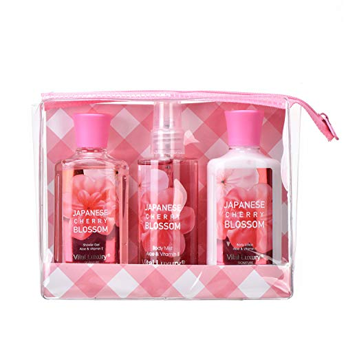 - Vital Luxury Bath & Body Care Travel Set - Home Spa Set with Body Lotion, Shower Gel and Fragrance Mist (Japanese Cherry Blossom)