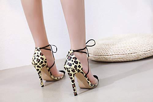 Sexy Individuales Calado Tacón Salvaje Correa Transparente Leopardo De Mujer Alto Fengjingyuan Zapatos 1 Sandalias Puntiagudo CTvOWqnt