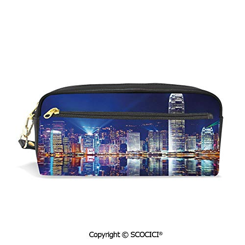 Printed Pencil Case Large Capacity Pen Bag Makeup Bag Hong Kong Island from Kowloon View Water Reflection Modern China for School Office Work College Travel