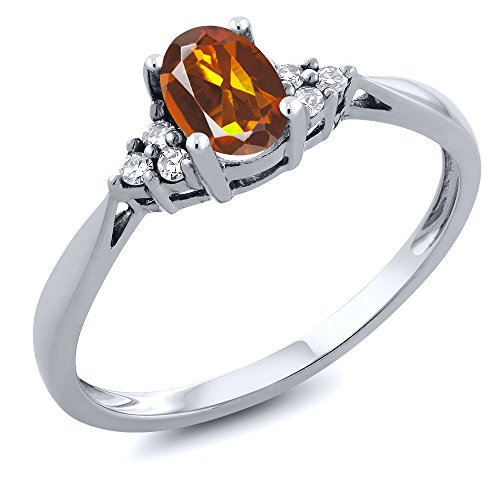 - 14K White Gold Orange Red Madeira Citrine and Diamond Women's Ring 0.46 cttw (Size 6)