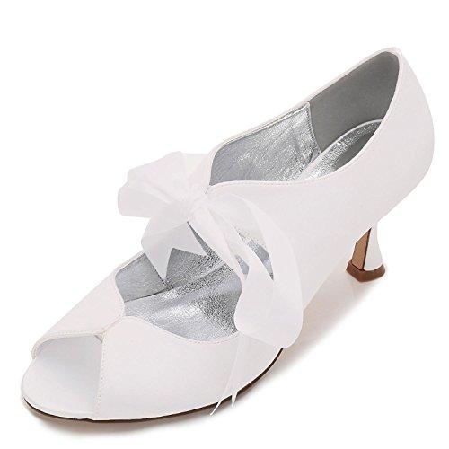 Con Alto Y yc L P17061 Cinta Ivory 22 Peep Novia Para Mujer Zapatos Encaje Verano De Satén Tacón Toe qT6CnwXT