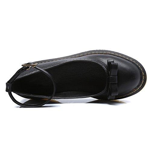 Smilun Lady's Ballet Flats Round Toe Ankle Strap Bowknot Black KnIt7hXthE