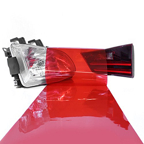 LinkedGo 12 by 48 Inches Self Adhesive Headlights or Fog Taillight Tint Vinyl Film (Red) Contour Tail Light Covers