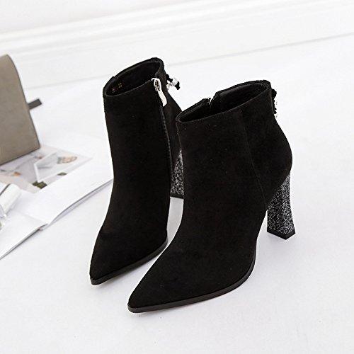 de Escarpin de Martin du femme chaussures Bottes age de Noir avec pointe Escarpin Chaussures per pointe Bottes Bottes Eau Bold 38 Chaussures mat courtes de Bare 7qxwdx1a