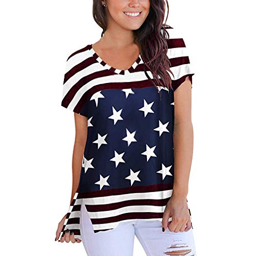 YEZIJIN Women Short Sleeve America Flag Print O-Neck Side Split Casual T Shirt Blouse 2019 Under 10 Dollars Blue