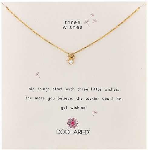 """Dogeared Three Wishes Cluster Pearl Bezel Crystal and Bead Gold Chain Necklace, 16""""+2"""" Extender"""