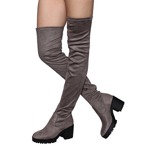 Besonon EJ05 Frauen Stretchy Snug Fit Plattform Oberschenkel Hohe Chunky Heel Stiefel Graues Wildleder