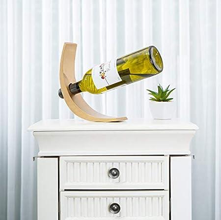 Leewadee Soporte para vinos Sofisticado – Botellero Decorativo de Madera de Mango, Soporte Elegante para viviendas y Bares, 29 x 6 x 10 cm, Dorado