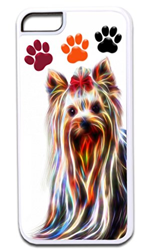 Fractal Yorkie-Pawprints Design TM Apple Iphone 4, 4s White Plastic Case with Soft Black Rubber Lining Made in the U.S.A.