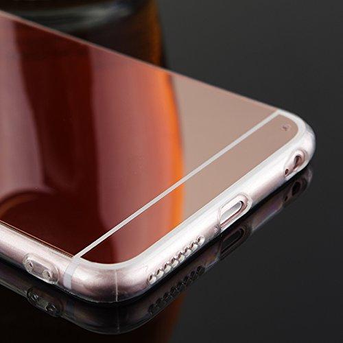 Coque pour Apple iPhone 6 Plus / Apple iPhone 6s Plus, Moonmini® Ultra Mince PC Mirror Reflection Effect pour TPU Frame Housse Coque Argent