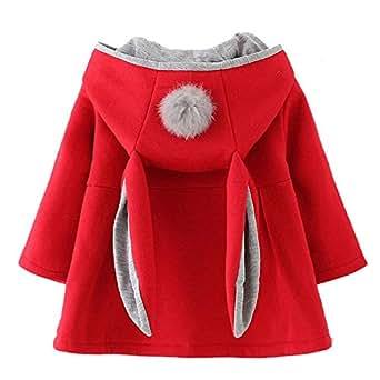 Avidqueen Cute Toddler Baby Girl's Kids Fall Winter Coat Jacket Outerwear Ears Hood Hoodie (Red, 2 Years)