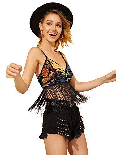 (SweatyRocks Women's Sparkle Sequin Fringe Hem V Neck Crop Cami Top Black L)