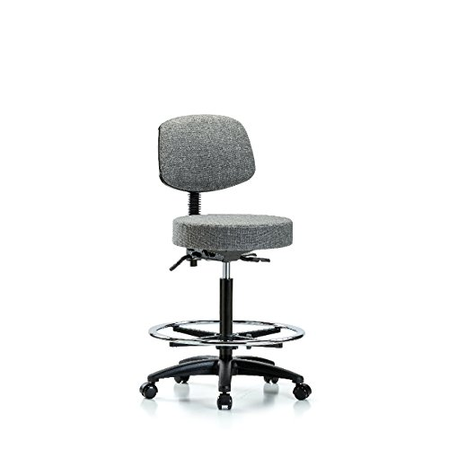 Fabric High Bench Height Stool with Back - Nylon Base, Tilt, Chrome Foot Ring, Casters, Grey Fabric Base Foot Ring Casters