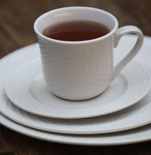 Melange 40-Piece Porcelain Dinnerware Set (Nantucket Weave) | Service for 8 | Microwave, Dishwasher & Oven Safe | Dinner Plate, Salad Plate, Soup Bowl, Cup & Saucer (8 Each) by Melange (Image #4)
