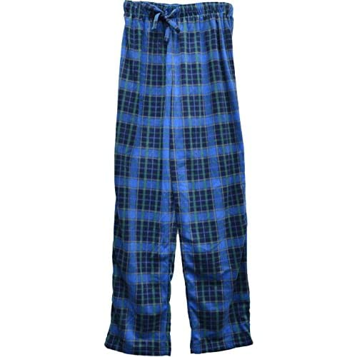 Cheap Club Room Men's Fleece Patterned Pajama Pant Blue Plaid Small