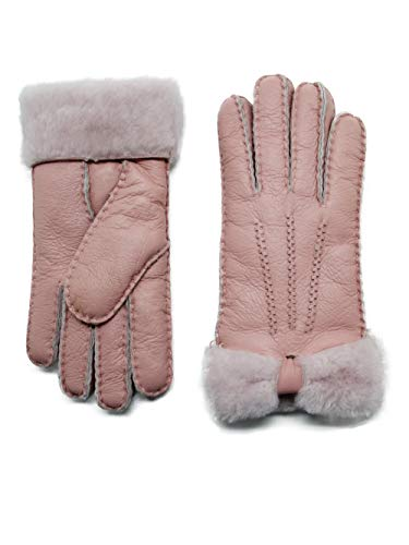 YISEVEN Women's Rugged Sheepskin Shearling Leather Gloves Mittens Sherpa Fur Wing Cuff Thick Wool Lined and Heated Warm for Winter Cold Weather Dress Driving Work Xmas Gifts, Pink Medium