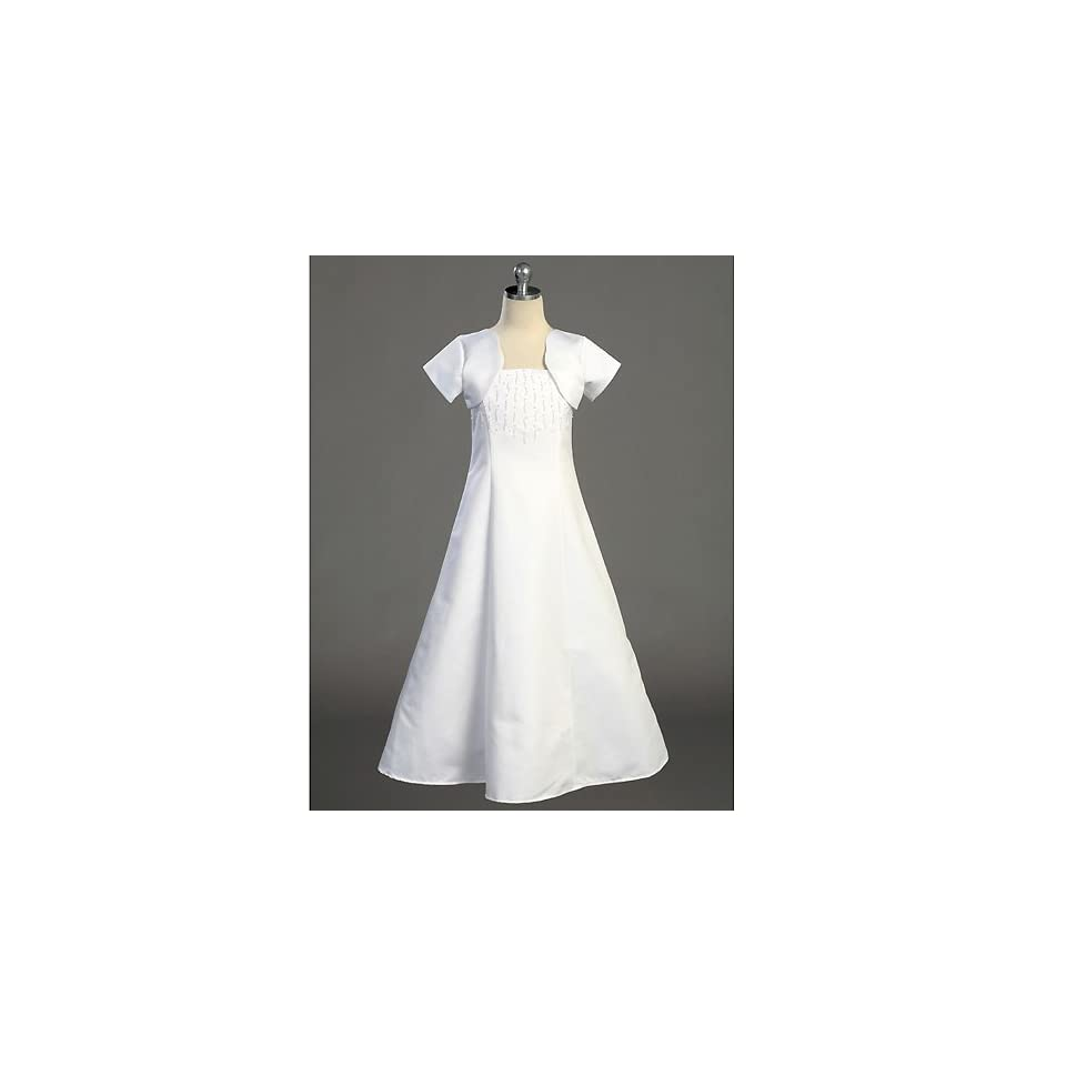 Lito Girls White Full Length First Communion Dress Bolero Set 7 20.5