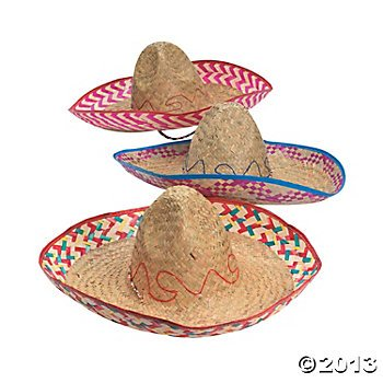 Fun Express (Adult Embroidered Woven Straw Sombreros, Pack of 12