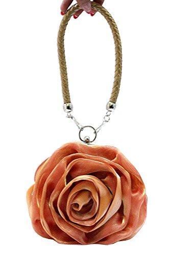 Heyjewels Damen Rose Clutch Bag Abendtasche Handtasche Brauttasche Beutel Orange