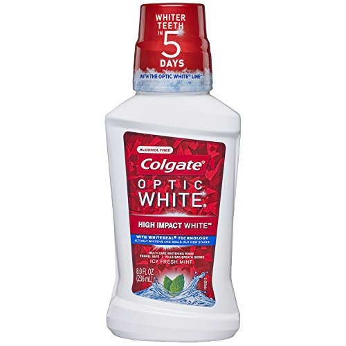 Colgate Optic White Whitening Mouthwash, Icy Mint , 8 Fl Oz (Pack of (Whitening Rinse)