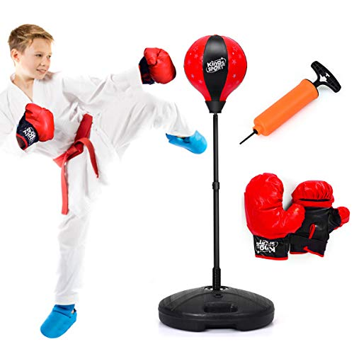 Costzon Kids Boxing Set, Height Adjustable Punching Ball Stand, Hand Pump, Boxing Gloves for Children Boys & Girls, Punching Bag Freestanding Set