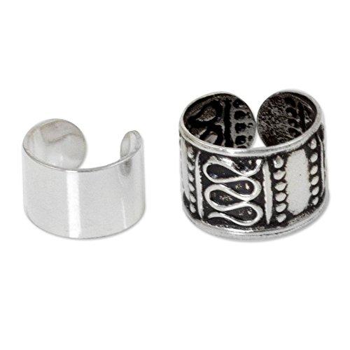 NOVICA Set of 2 Oxidized .925 Sterling Silver Ear Cuffs 'Two Epochs' - Cuffs Oxidized Ear
