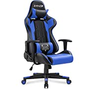 Homall Gaming Chair Racing Office Chair Sracer Computer Desk Chair High Back Leather Executive Swivel Chair Ergonomic Adjustable (Blue)