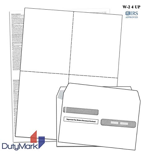 W-2 4-Up Blank Laser Tax Forms Set with Self-Seal Envelopes, for 100 Employees, 2018, with Back Instructions