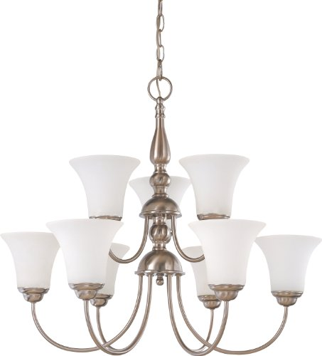 Nuvo Lighting 60/1903 Dupont 9-Light Two Tier Chandelier with Satin White Glass, Brushed Nickel