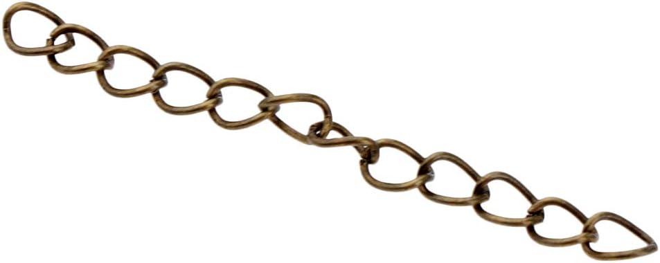 Antique Bronze P Prettyia 100pcs 5cm Extension Chain Necklace Bracelet Key Chain Extenders Tail Chains 5x0.7cm