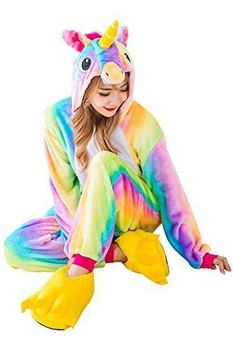 Einhorn Pyjamas Kostum Jumpsuit Tier Schlafanzug Erwachsene Unisex