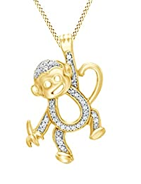 Natural Diamond Accent Hanging Monkey Pendant In 14K Gold Over Sterling Silver