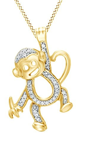 Jewel Zone US Natural Diamond Accent Hanging Monkey Pendant Necklace in 14k Yellow Gold Over Sterling Silver 14k Yellow Gold Monkey Pendant