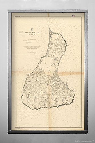 New York Map Company (™) 1888 Map Rhode Island|Washington|Block Island Block Island, Rhode Island Relief shown by contour|Vintage Fine Art Reproduction|Ready to Frame Rhode Island Block Island