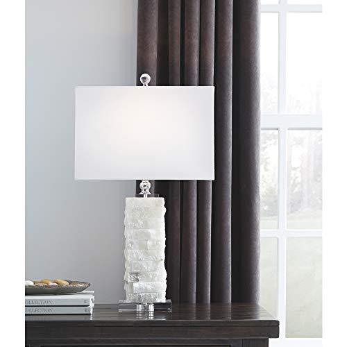 Signature Design by Ashley – Malencia Marble Table Lamp – Contemporary Chic – White
