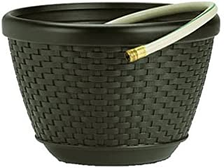 product image for Suncast CPLHPW100 HPW100 Mocha Wicker 100-Foot Capacity Hose Pot, Brown