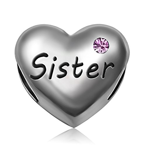 JMQJewelry Sister Heart Love Charms Mother's Day Crystal Bead For Bracelets