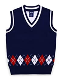 Boys Sweater Vest Argyle V Neck Sleeveless Pullover Knit School Waistcoat 2-7T