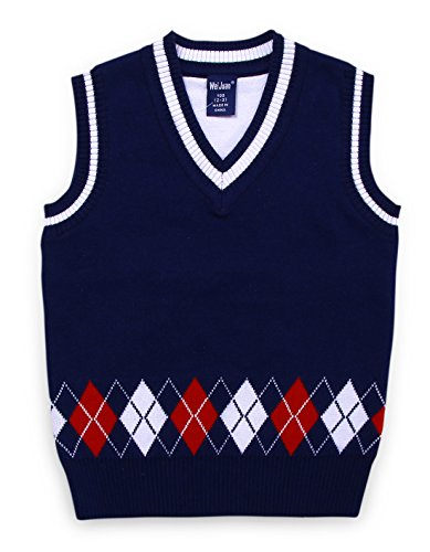 Little Boys Sweater Vest Comfortable Knit Pullover Sleeveless All Season Casual V Neck Wasitcoat 3-4T Navy Blue
