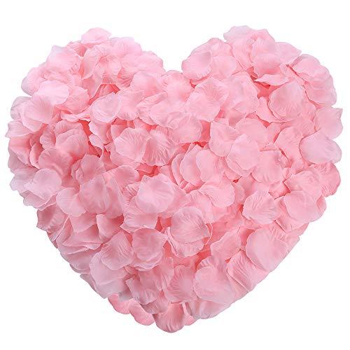 Auihiay 1200 Pieces Silk Rose Petals Artificial Flower Petals for Wedding Aisle, Party Favor & Table, Vase, Home Decoration (Light Pink)