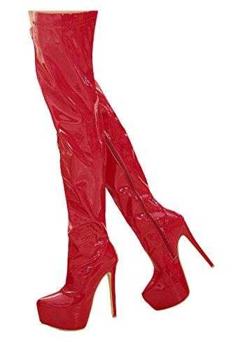 Zipper The Stiletto CAMSSOO Over Boots Women's Platform Patent High Red Knee Heel wCTzfzqxF