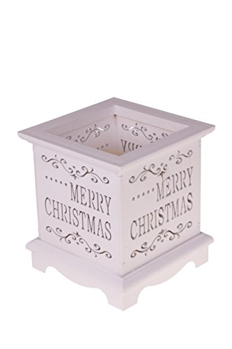 (Clever Creations Christmas Flameless LED Candle Table Top Candle Holder Durable Painted Wood | Merry Christmas Design | Measures 4.25