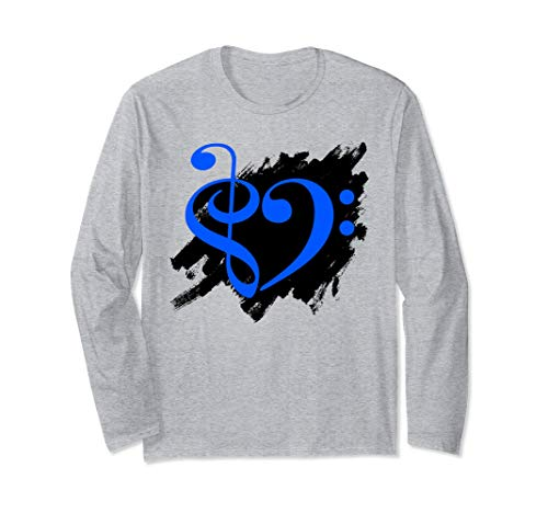 Treble Clef Bass Clef Blue Heart Grunge Brush Strokes Bassist Long Sleeve T-Shirt