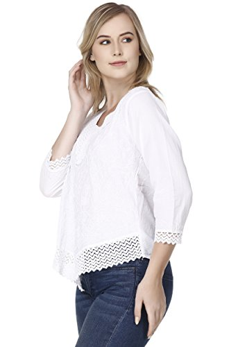 Camicetta Sera Manica Skavij Da Camicia 4 Vestito Cotone Maglietta Elegante Donna 3 Bianca TWaaOcYMn4