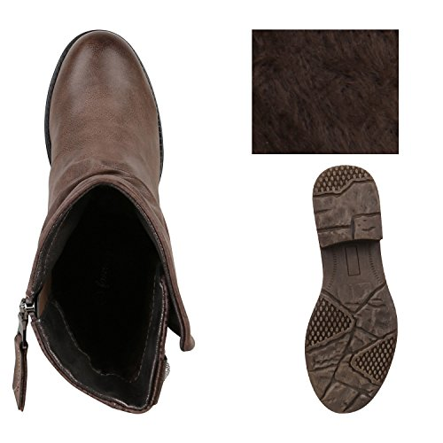 Stiefelparadies Damen Stiefeletten Zipper Biker Boots Schuhe Leder-Optik Schnallen Knöchelhohe Stiefel Damenschuhe Flandell Khaki Knöpfe