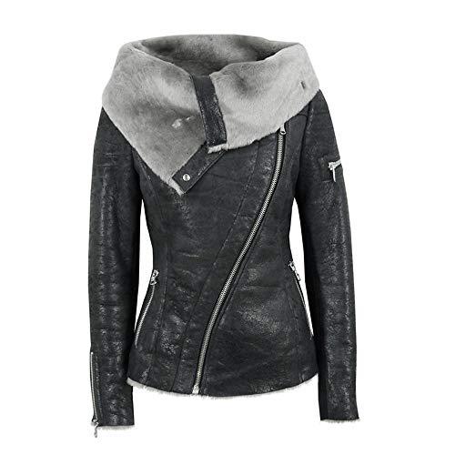 Baigoods-Clothes Women Plus Velvet Asymmetrical Zipper Short Locomotive Jacket Composite Coat ()